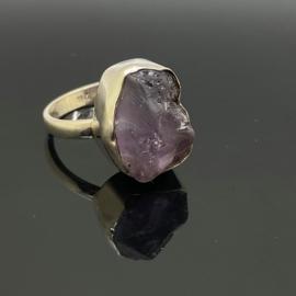 Amethist ruw ring, 19 mm/60, 925 zilver