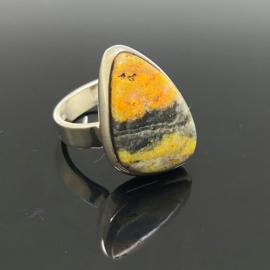 Bumblebee Jaspis ring, 18 mm/57, 925 zilver