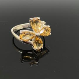 Citrien ring, 17,5mm/55, 925 zilver