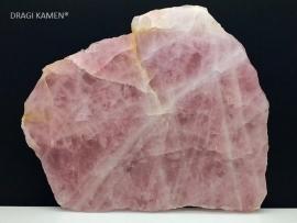 Roze kwarts/Rozenkwarts plaat gezaagd en gepolijst, 1079 gram.
