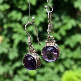 925/000 Zilveren oorbellen met geslepen amethist/amethyst