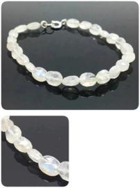 Regenboog Maansteen armband, facet geslepen, 925 zilver