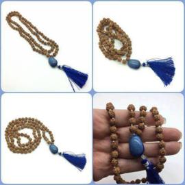 Handgeknoopte MALA 'HEAVEN' , 108 Rudraksha zaden met blauwe Agaat Guru