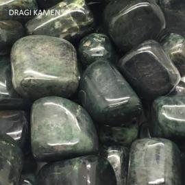 Donkere Jade handsteen/knuffelsteen/meditatiesteen