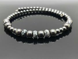 Hematiet met facet geslepen Sneeuwvlok obsidiaan armband op Memory Wire