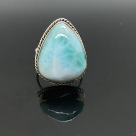 Larimar ring 18 mm/57, 925 zilver