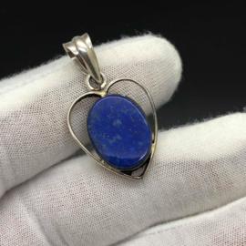 925/000 Zilveren hanger met geslepen Lapis Lazuli