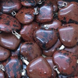 Mahonie obsidiaan hart hanger