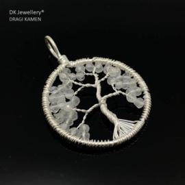 Tree of life hanger met facet geslepen Regenboog Maansteen 925 zilver