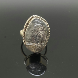 Toermalijnkwarts ring, 16,5 mm/52, 925 zilver