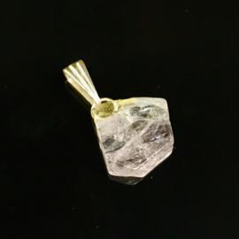 Danburiet kristal hanger, zilveren hangoogje
