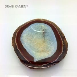 Gepolijste Agaat/carneool/bergkristal schijf/kom, 129 mm.
