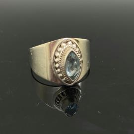 Facet geslepen Topaas ring, 19 mm/60, 925 zilver