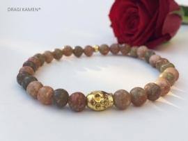 Armband met Unakiet A 6 mm ronde kralen en goud kleurige skull