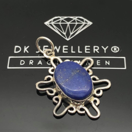 925/000 Zilveren hanger met geslepen Lapis Lazuli.
