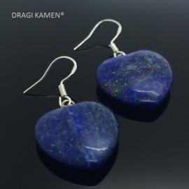 Lapis Lazuli AAA Blue hart oorbellen aan 925 zilveren oorhaak.
