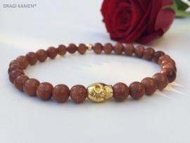 Armband met Goudsteen 6 mm ronde kralen en goud kleurige skull