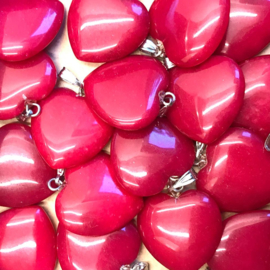 Jade, roze hart hanger