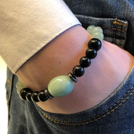 Heren armband Groene aventurijn Zwarte obsidiaan