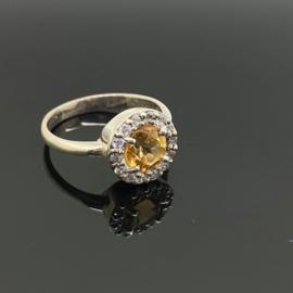 Citrien ring, 18,75 mm/59, 925 zilver