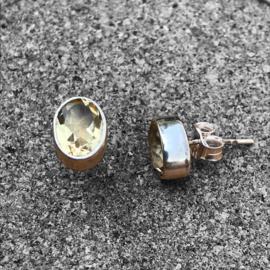 925/000 zilveren oorstekers met facet geslepen Citrien
