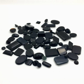 Zwarte onyx cabochons, 129 ct. Top kwaliteit