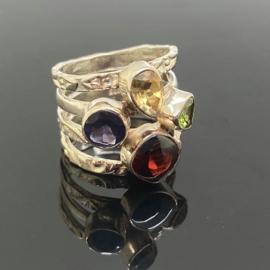 Ioliet, Citrien, Peridoot, Granaat ring, 16,5 mm/52, 925 zilver