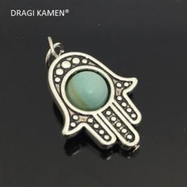 Beschermende Hamsa/Fatima's hand hanger met 8 mm amazoniet bol.
