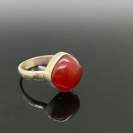 Carneool ring, 18 mm/56, 925 zilver