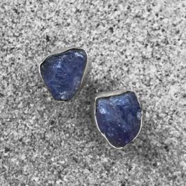 925/000 zilveren oorstekers met Tanzaniet