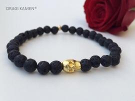 Armband met Lava steen 6 mm ronde kralen en goud kleurige skull