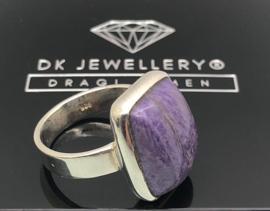 925 zilveren ring met Charoiet, 17,5 mm / 55