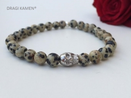 Armband met Dalmatiër Jaspis 6 mm ronde kralen en zilver kleurige skull