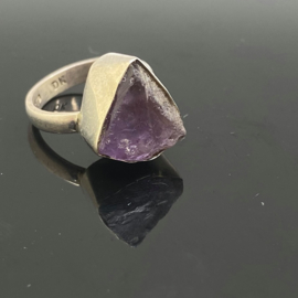 Amethist ruw ring, 16,5 mm/52, 925 zilver