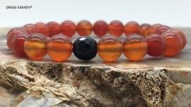 DRAGI KAMEN® - Armband met Carneool 8 mm facet geslepen kralen.