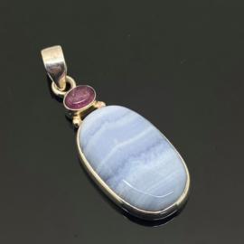 Chalcedoon met roze Toermalijn hanger, 925 zilver