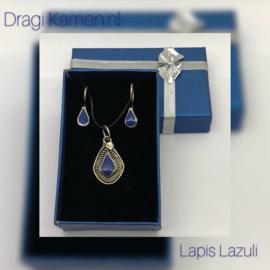 Lapis Lazuli set in zilver met geschenkdoosje.