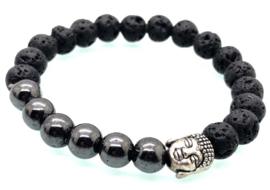 Handgemaakte Boeddha armband met 8 mm Lava stone en Hematiet kralen.