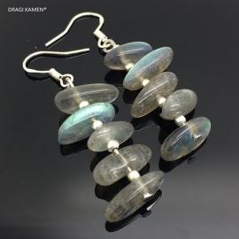 Prachtige 925 Zilveren oorbellen met Labradoriet stenen.