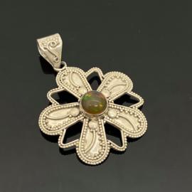 Opaal hanger, 925 zilver,
