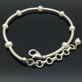 Handgemaakte 925/000 zilveren armband met Parel