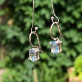 925/00 Zilveren oorbellen met facet geslepen topaas.