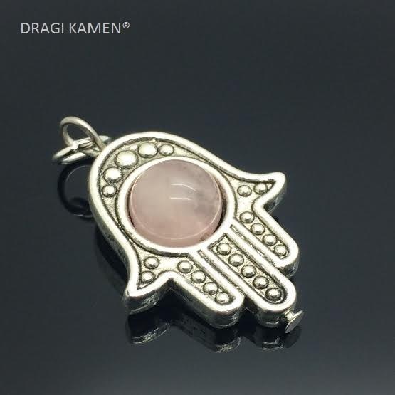 Beschermende Hamsa/Fatima's hand hanger met 8 mm rozenkwarts bol.