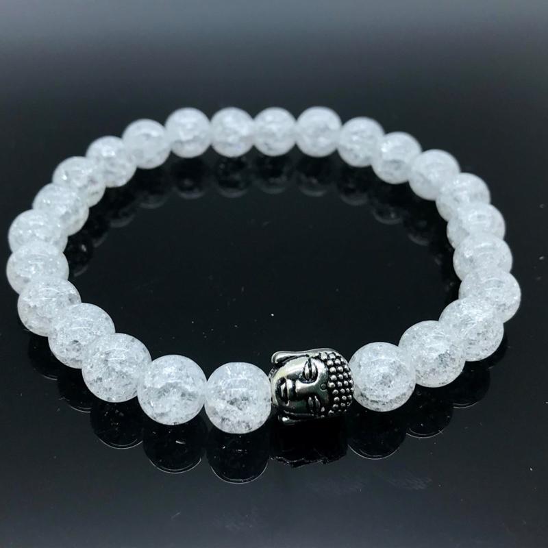 Buddha armband, Bergkristal/Regenboog kristal
