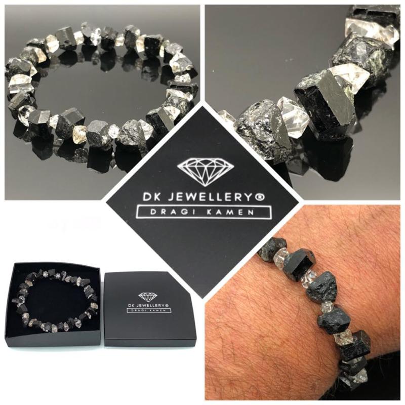 Dames en Heren armband met Zwarte Toermalijn kristallen en Herkimer Diamant.