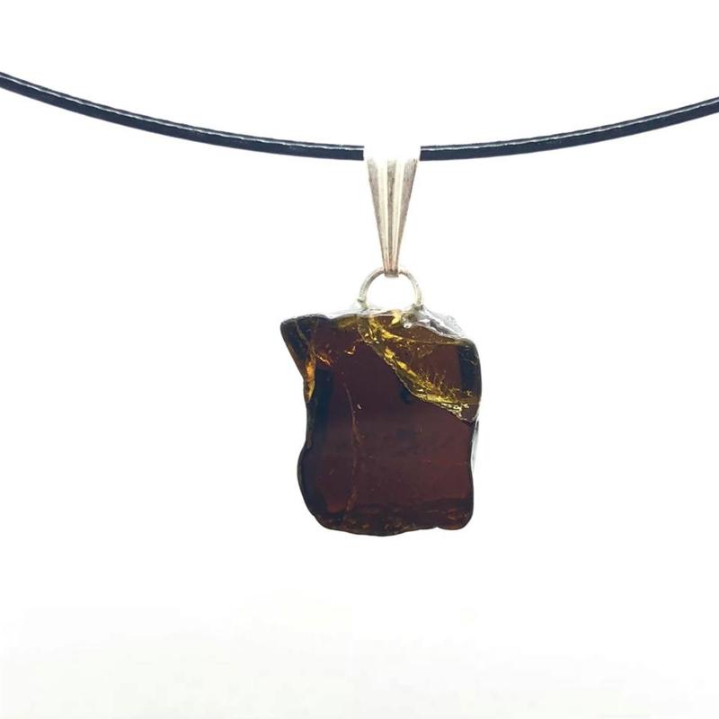 Prachtige bruine Toermalijn (Draviet)hanger, zilveren hangoogje  T07