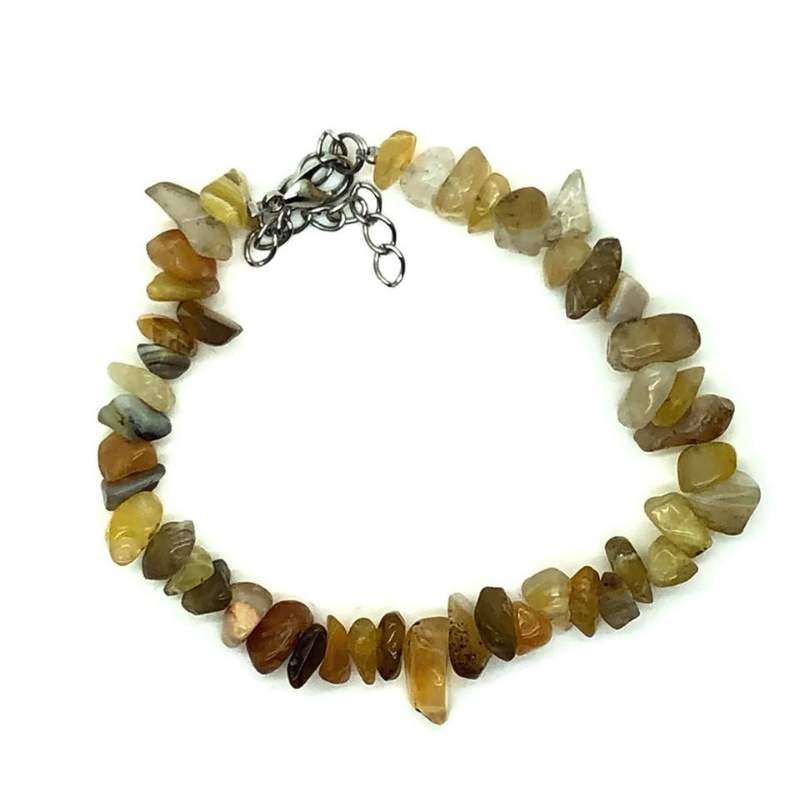 Agaat, botswana geel, splitarmband met sluiting