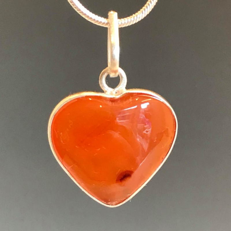 Carneool hart hanger in 925 zilver