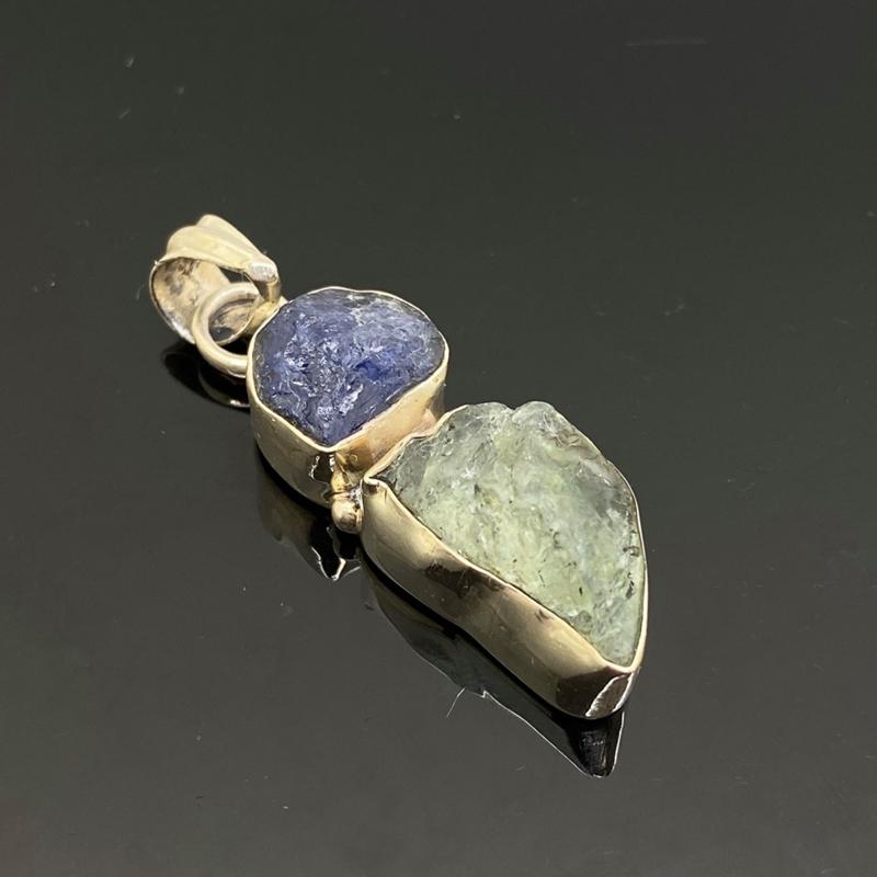 Tanzaniet met Aquamarijn hanger, 925 zilver