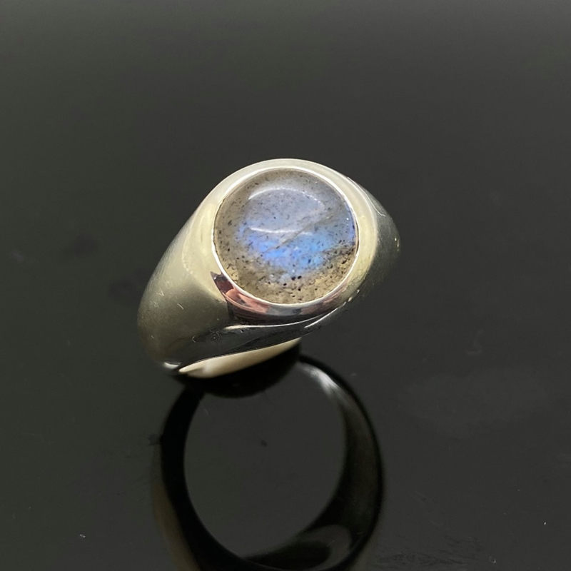 Labradoriet ring, 15,25 mm/48, 925 zilver